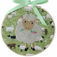 Sheep, 15cm Embroidered Hoop Art, Hanging Wall Decoration