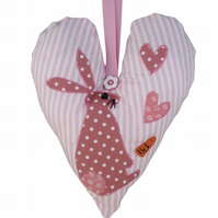 Hare Padded Lavender Hanging Heart, with appliqué decoration