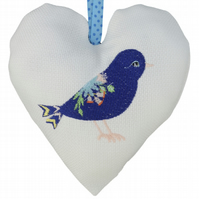 Decorated Bird, 18cm Embroidered Padded Heart