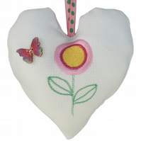 Flower with Butterfly, 18cm Embroidered Padded Heart