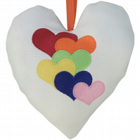 Rainbow Hearts, 18cm Embroidered Padded Heart