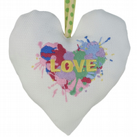 Paint Splodge Heart, 18cm Embroidered Padded Heart
