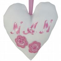 Nan, 18cm Embroidered Padded Heart