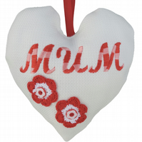 Mum, 18cm Embroidered Padded Heart