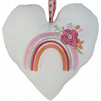 Rainbow with Flowers, 18cm Embroidered Padded Heart