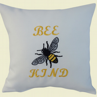 Bee Kind with Bee Cushion, Embroidered Cushion, Feature Cushion, Throw Pillow