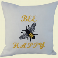 Bee Happy with Bee Cushion, Embroidered Cushion, Feature Cushion, Throw Pillow