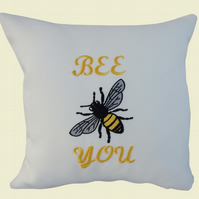 Bee You with Bee Cushion, Embroidered Cushion, Feature Cushion, Throw Pillow