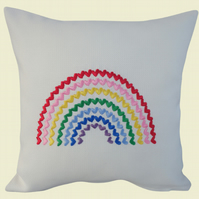 Rainbow of Hearts Cushion, Embroidered Cushion, Feature Cushion, Throw Pillow