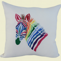 Zebra Cushion, Embroidered Cushion, Feature Cushion, Throw Pillow