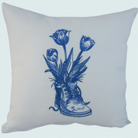 Blue Boot & Flowers Cushion, Embroidered Cushion, Feature Cushion, Throw Pillow