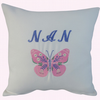 Nan and Butterfly Cushion, Embroidered Cushion, Feature Cushion, Throw Pillow