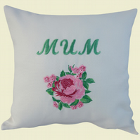 Mum and Flower Cushion, Embroidered Cushion, Feature Cushion, Throw Pillow
