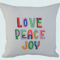 Love Peace Joy Cushion, Embroidered Cushion, Feature Cushion, Throw Pillow