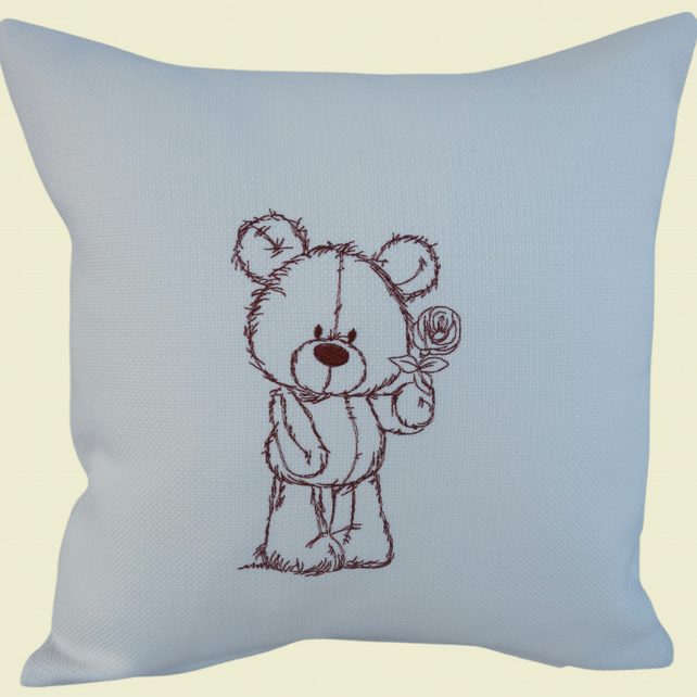 Brown Teddy Bear Cushion, Embroidered Cushion, Feature Cushion, Throw Pillow