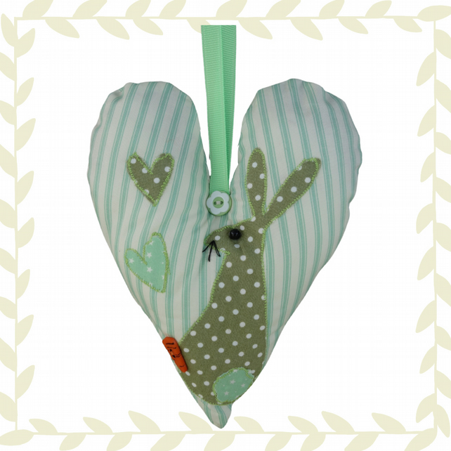 Green Hare, Green Padded Hanging Heart, Lavender Heart, with appliqué