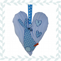 Hare, Blue Padded Hanging Heart, Lavender Heart, with appliqué decoration