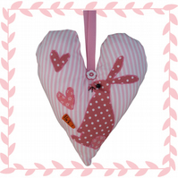 Hare, Pink Padded Hanging Heart, Lavender Heart, with appliqué decoration