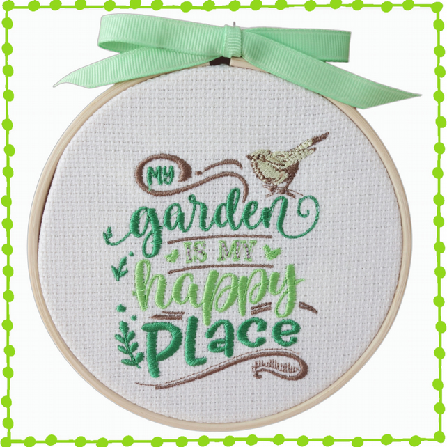 Happy Place, 12.5cm Embroidered Hoop Art, Wall Hanging, Embroidered Decoration