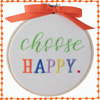 Choose Happy, 12.5cm Embroidered Hoop Art, Wall Hanging, Embroidered Decoration