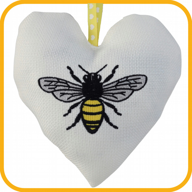 Bee, 18cm Embroidered Heart, Padded Hanging Heart, Lavender Heart