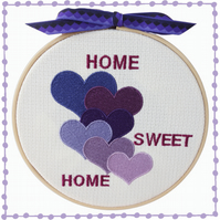 Purple Hearts, 15cm Embroidered Hoop Art, Wall Hanging, Embroidered Decoration
