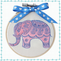 Elephant, 10cm Embroidered Hoop Art, Wall Hanging, Embroidered Decoration