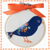 Bird, 10cm Embroidered Hoop Art, Wall Hanging, Embroidered Decoration