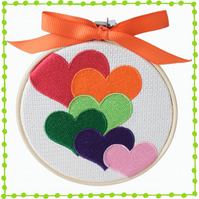 Rainbow Hearts, 10cm Embroidered Hoop Art, Wall Hanging, Embroidered Decoration