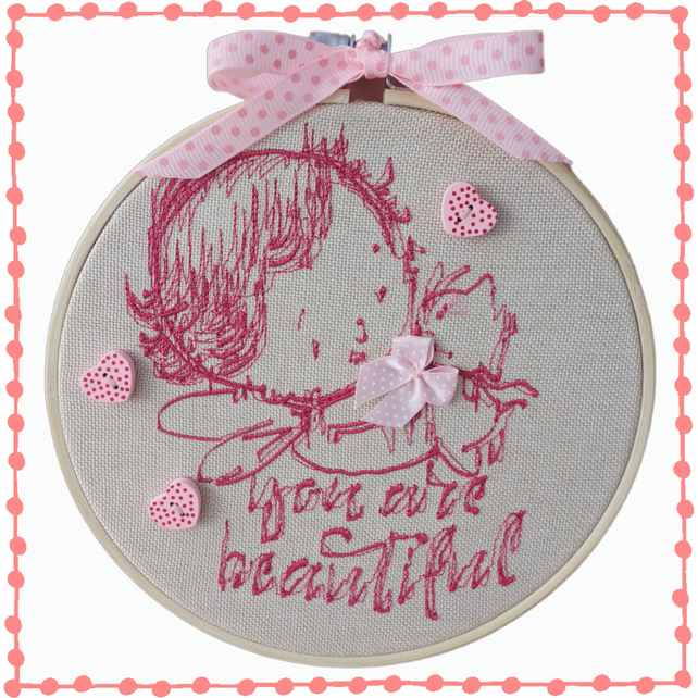 Pink Child, 15cm Embroidered Hoop Art, Wall Hanging, Embroidered Decoration