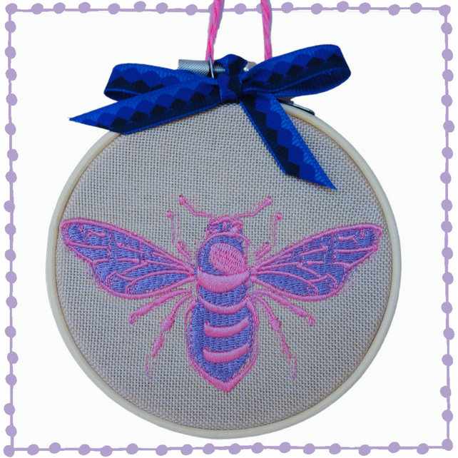 Purple Bee, 10cm Embroidered Hoop Art, Wall Hanging, Embroidered Decoration