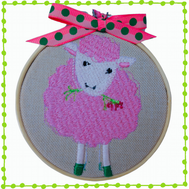 Pink Sheep, 10cm Embroidered Hoop Art, Wall Hanging, Embroidered Decoration