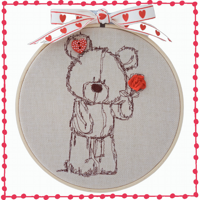 Teddy with Rose, 15cm Embroidered Hoop Art, Wall Hanging, Embroidered Decoration