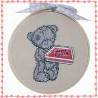 Teddy with Cake, 15cm Embroidered Hoop, Wall Hanging, Embroidered Decoration