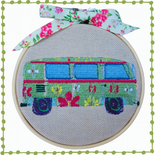 Camper Van, 10cm Embroidered Hoop Art, Wall Hanging, Embroidered Decoration
