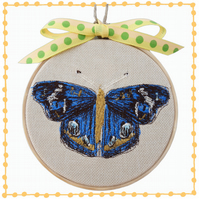 Blue Butterfly, 10cm Embroidered Hoop Art, Wall Hanging, Embroidered Decoration