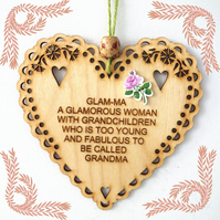 Glam-Ma, 15cm Wooden Heart, Hanging Heart, Engraved Heart Decoration