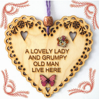 Grumpy Old Man, 15cm Wooden Heart, Hanging Heart, Engraved Heart Decoration