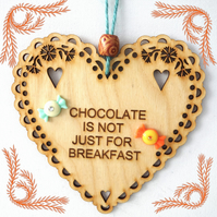 Chocolate, 15cm Wooden Heart, Hanging Heart, Engraved Heart Decoration