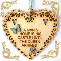 Castle, 15cm Wooden Heart, Hanging Heart, Engraved Heart Decoration