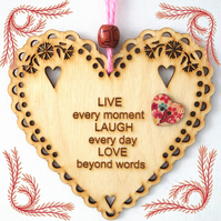 Live Laugh Love, 15cm Wooden Heart, Hanging Heart, Engraved Heart Decoration