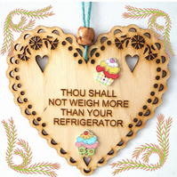 Refrigerator, 15cm Wooden Heart, Hanging Heart, Engraved Heart Decoration