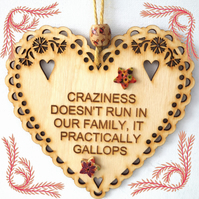 Craziness, 15cm Wooden Heart, Hanging Heart, Engraved Heart Decoration