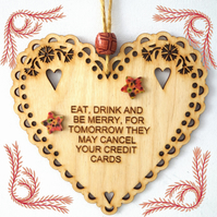 Eat Drink Merry, 15cm Wooden Heart, Hanging Heart, Engraved Heart Decoration