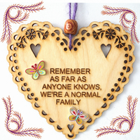 Normal Family, 15cm Wooden Heart, Hanging Heart, Engraved Heart Decoration