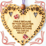 Smile, 15cm Wooden Heart, Hanging Heart, Engraved Heart Decoration