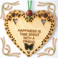 Happiness, 15cm Wooden Heart, Hanging Heart, Engraved Heart Decoration