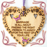 Marriage, 15cm Wooden Heart, Hanging Heart, Engraved Heart Decoration