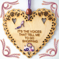 Voices, 15cm Wooden Heart, Hanging Heart, Engraved Heart Decoration