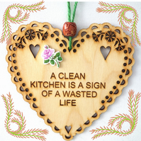 Clean Kitchen, 15cm Wooden Heart, Hanging Heart, Engraved Heart Decoration